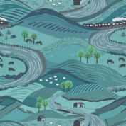 Lewis & Irene - Littondale - 6514 - Dales Scene in Blue & Turquoise - A355.2 - Cotton Fabric